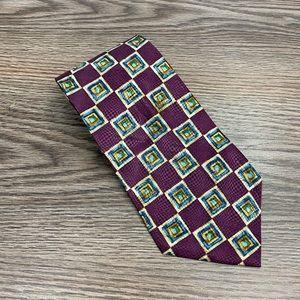 Gitman & Bros Purple, Blue & Gold Check Tie